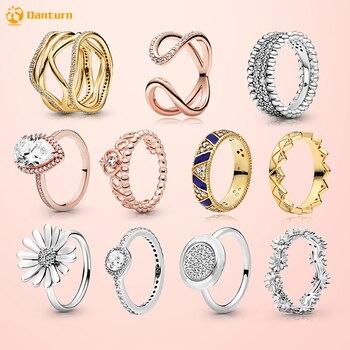 Danturn New 925 Sterling Silver Daisy Flower Crown Pink Wrapped Open Rings Original Women Brand Jewelry Gift