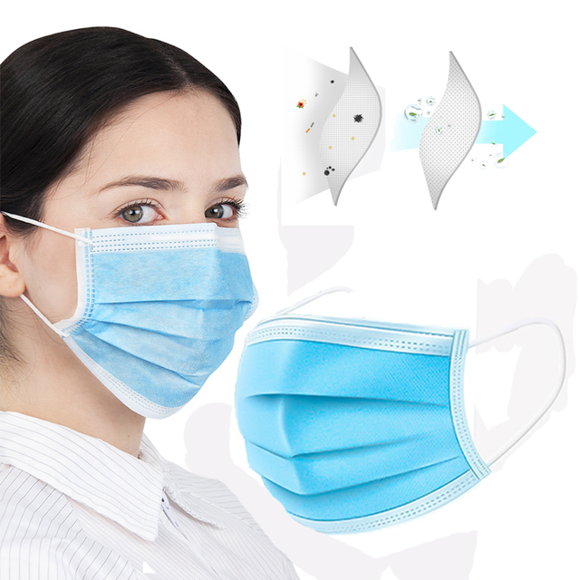 3 Ply Face Mouth Mask Disposable Face Mask Anti Pollution Masks Non Woven Flu Masks Pack 2