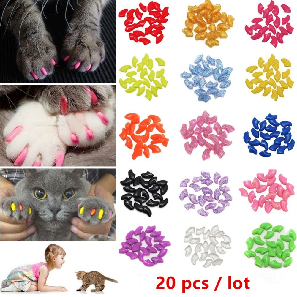 20 PCS Colorful Cat Nail Caps Silicone Cat Accessories Pet Nail Care Paw Claw Nail Protector Cover Soft  Supplies for Cat Kitty