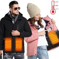 Winter Couples USB Heated Jacket Men Women Plus Size Down Cotton Hiking Coat Keep Warm Waterproof Jacket Men Rain Jacket