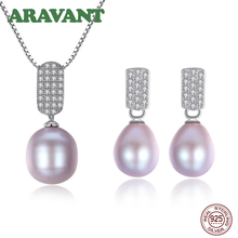 Natural Pearl Jewelry Sets Freshwater Pearl Pendant Necklace Earring Women Fashion 925 Sterling Silver Jewelry
