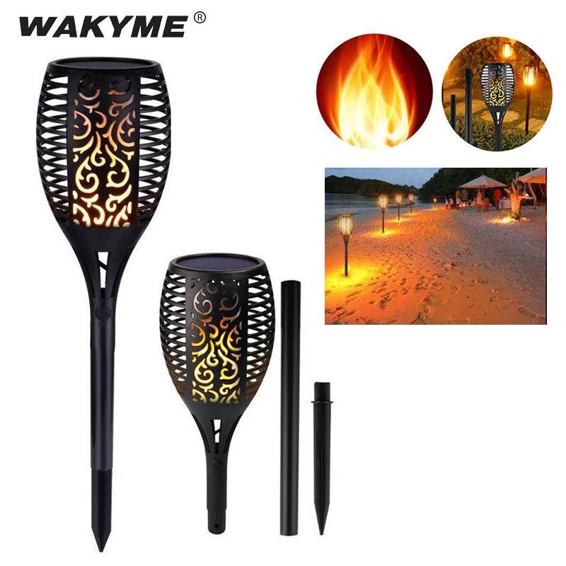 WAKYME 96 LED Solar Light Dance Flame Outdoor Solar Flame Lamp Waterproof Solar Powered Spotlight for Balcony Garden Decoration
