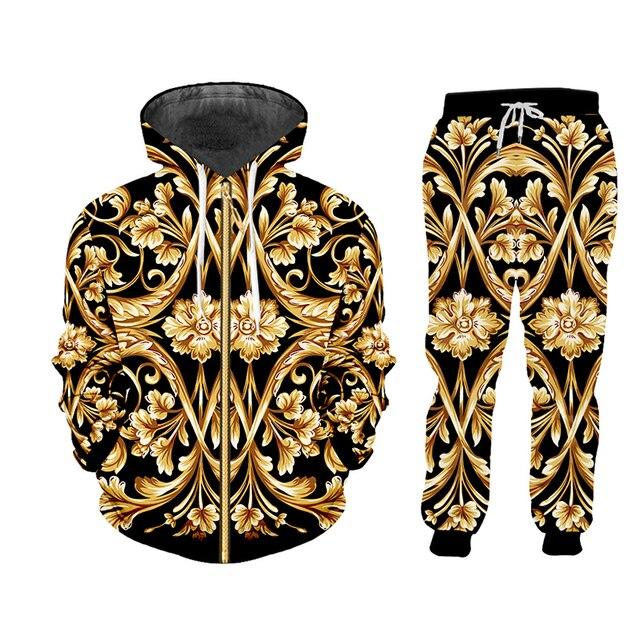 UJWI brand 3D Print Men two piece set Gold Flower Luxury Royal Baroque Tracksuit Jacket Sweatsuit Sweatshirt Hoodies sports 5XL 3
