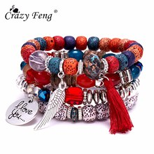 2019 Women Natural Stone Beads Bracelets Wing Tassel Charm Bracelets amp Bangles Set Boho Vintage Pulseras Mujer Moda Jewelry cheap Crazy Feng ID Bracelets Zinc Alloy Snake Chain All Compatible Fashion geometric Mood Tracker Bohemia KFB1222 sf None Spring-ring-clasps