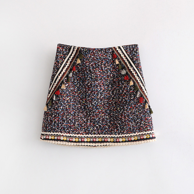 2018 Western Style Early Spring WOMEN'S Dress New Style Strap Tweed Skirt