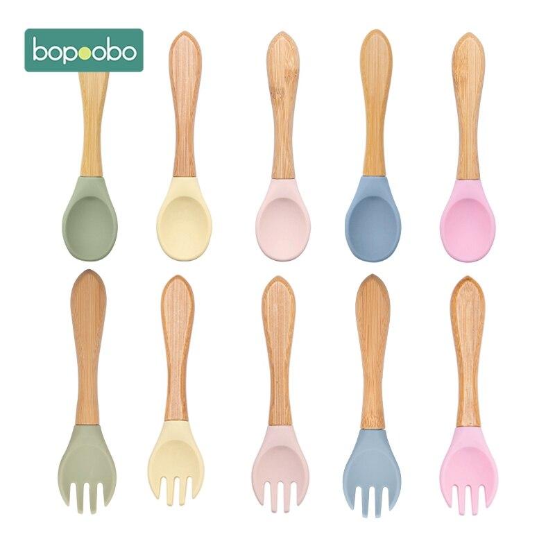 Bopoobo 2PCS Baby Bambus Gabel Silikon Holz Baby Fütterung Löffel Kleinkinder Infant Fütterung Zubehör Organische BPA FREI Food Grade