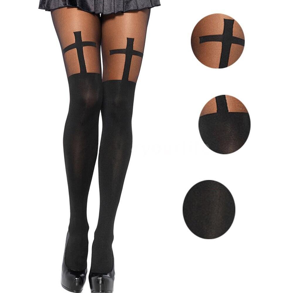 Nowe seksowne kobiety rajstopy bezszwowe pończochy nieprzezroczyste krzyż wzór wysokiej talii gotyckie rajstopy siatki kabaretki wydrukowane na czarno pończochy