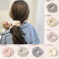 2020 de piel de invierno Scrunchies peludo elástico bandas para pelo para mujer chicas de pelo de cola de caballo de los accesorios para el cabello, cuerda