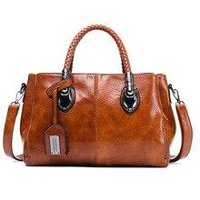 BELLELIFE Vintage Boston 3 Layer Handbag for Women Oil Wax Leather Shoulder Bag Female Crossbody Bags Ladies Brand Handbags