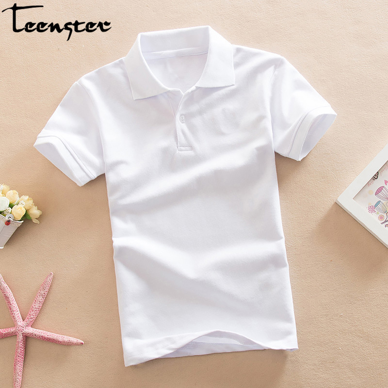 Teenster Kids Polo Shirt Summer Short Sleeve Tops Cotton Turn Down Collar Pure Color Sport Polos Holiday Boys Shirts Outfits