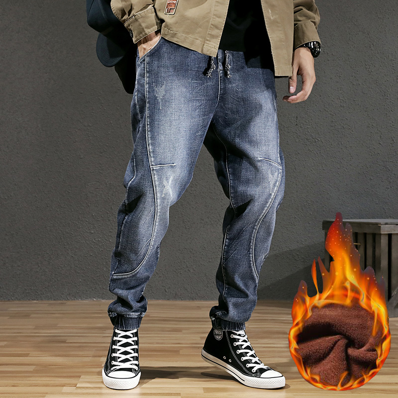 Winter Fashion Streetwear Men Jeans Loose Fit Retro Blue Spliced Designer Harem Jeans Men Cargo Pants Hip Hop Velvet Warm Jeans