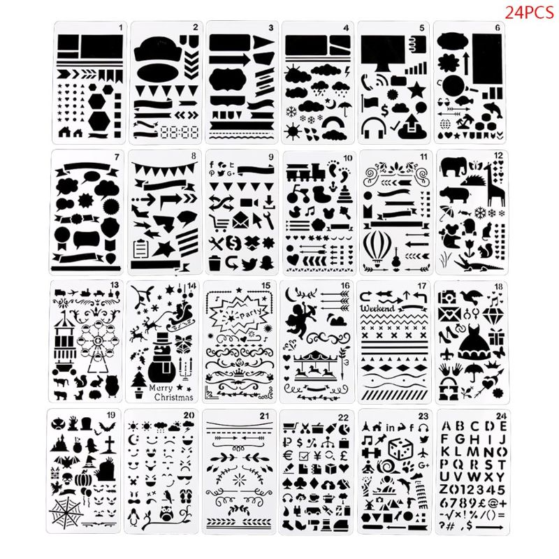 24pcs/set Journal Drawing Template Ruler Stencil Painting Board DIY Album Decor