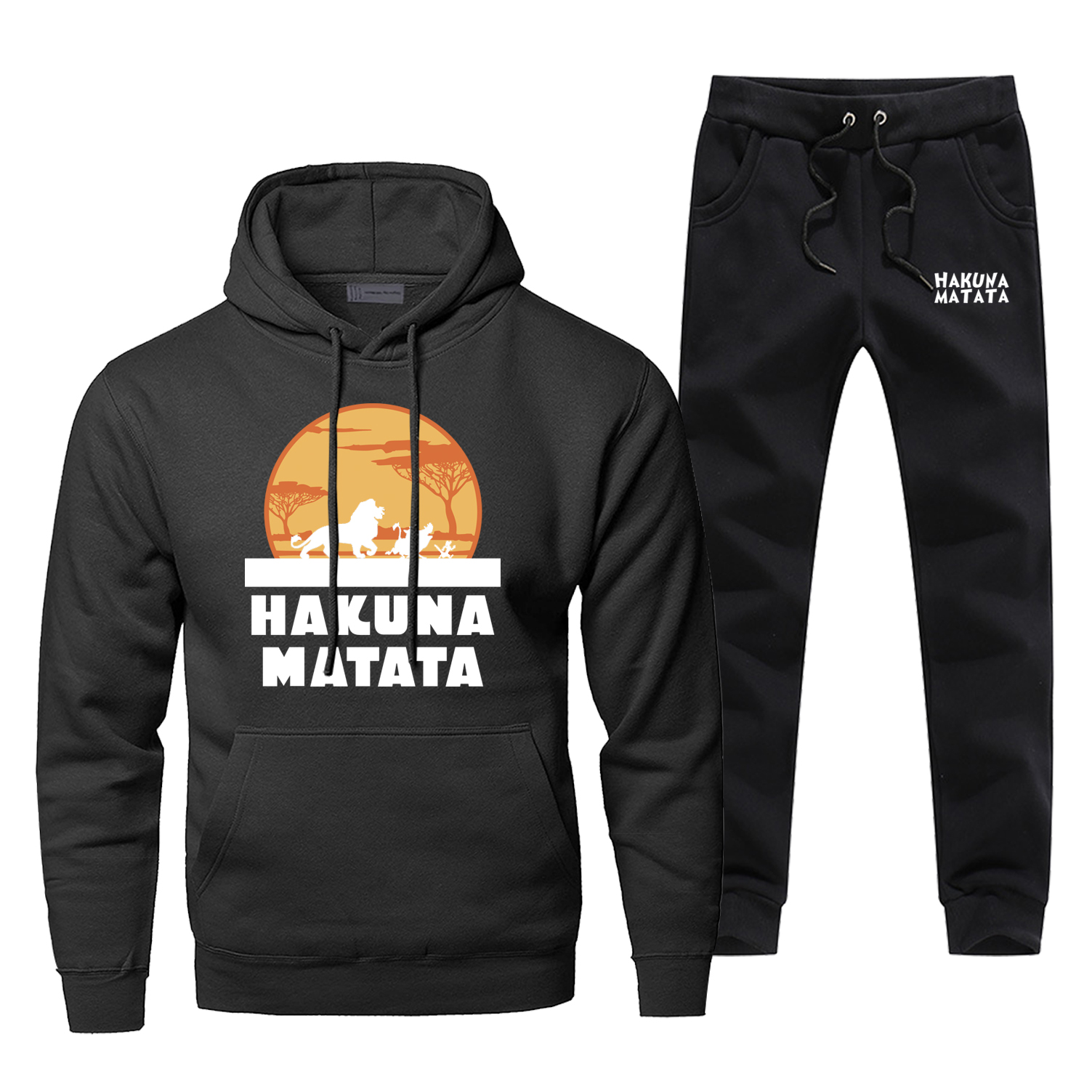 Hakuna Matata Print Hoodies Set The Lion King Smiba Cartoon Sweatpants 2019 New Arrival Fitness Gym Suit Casual Fashion Male Set