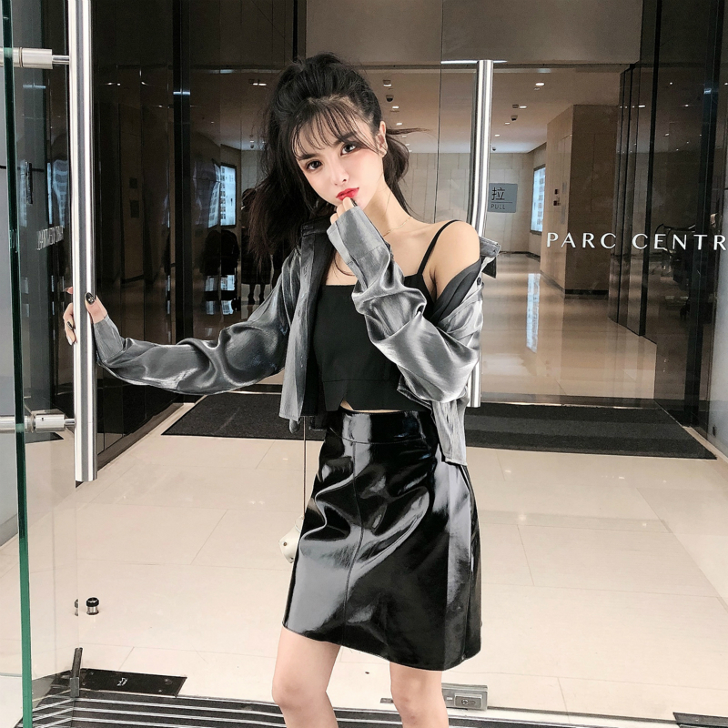 Hot Sale Womens Sexy 3 Piece Set Women Korean Sequined Artificial Leather Brief Paragraph Shirt+Sun-top+leather Skirt Nightclub