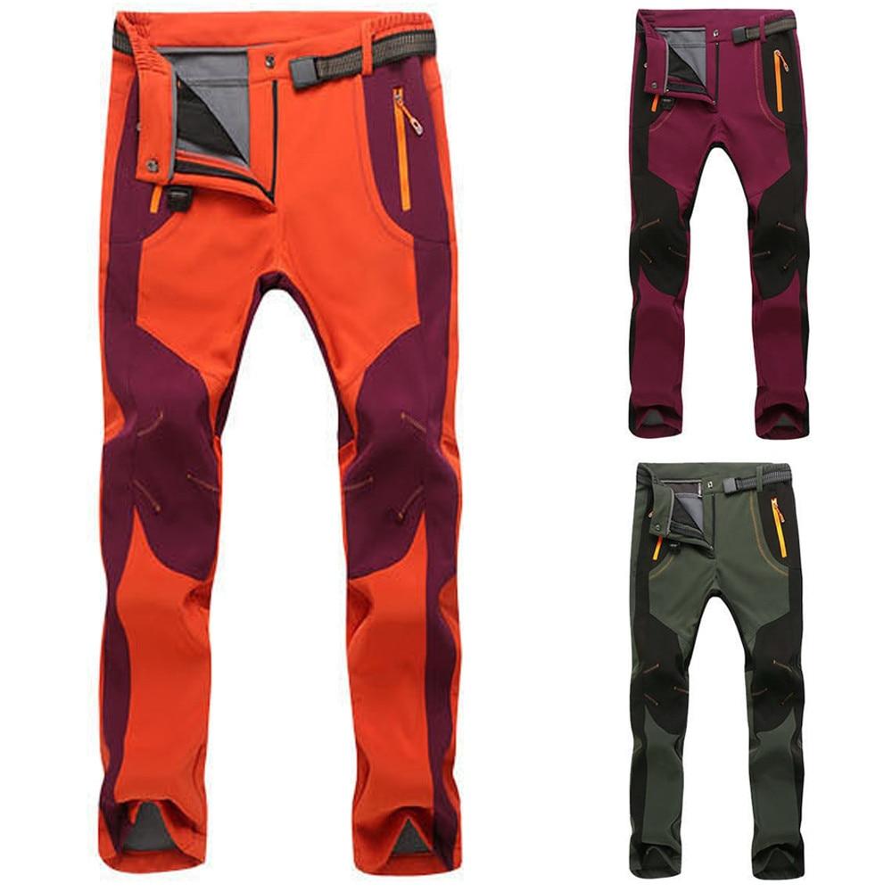 Для женщин пары лыжные штаны флисовые утепленные штаны Soft Shell брюки для девочек ветрозащитный Водонепроницаемый Альпинизм зимние Повседне...