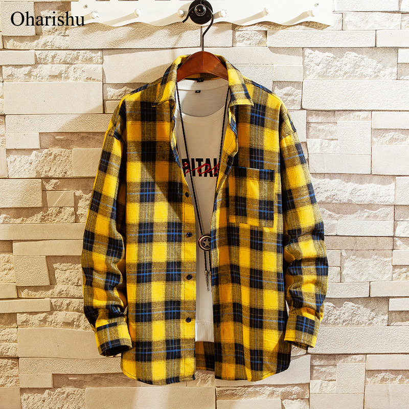 Spring Men's Shirt New Arrival Fashion Plaid Long Sleeve Shirts Male Casual Business Cotton Shirt Office Top Shirts M-5XL