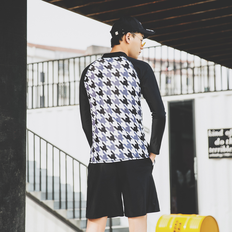 2019 New South Korea Long Sleeve Split Type Beach Shorts Men Swimsuit Running Man Sun-resistant Casual Swimwear Olive Flower 193