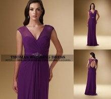 На заказ Сексуальная V шеи спинки фиолетовый с Кристалл бисероплетение шифон мать невесты платья вечерние для WV-502