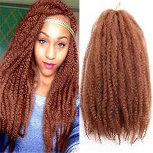Hair-Extensions Braids Curl Afro Kinky Yaki Crochet Black Burg18inch Synthetic Li-Marley