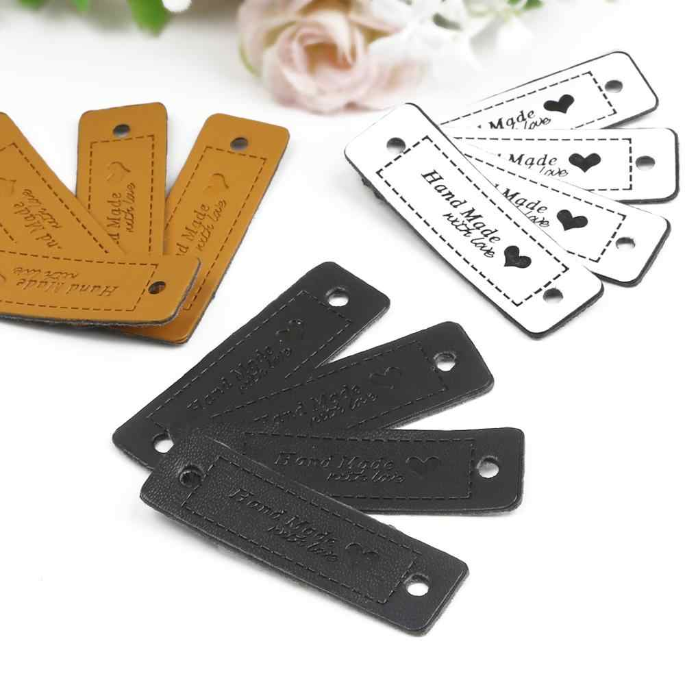 12pcs 수제 사랑 심장 레이블 의류 의류 PU 가죽 레이블 손으로 만든 태그 청바지 가방 신발 DIY 바느질 용품