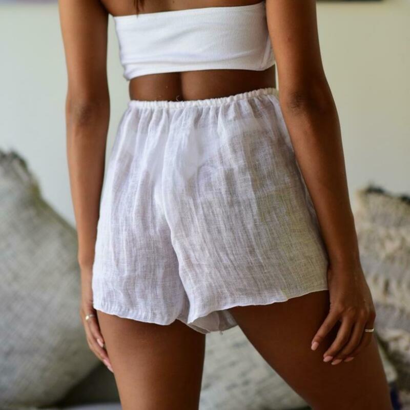 Summer Shorts Women Loose Shorts Elastic Waist Transparent Casual Lace-up Beachwear Short