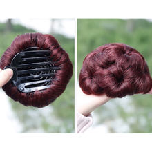 SalonChat Hair Accessories Remy Human Hair Curly Chignon Bun Hairpiece for Women 9 Flowers Roller Clip In Hairpieces Clip-In(China)