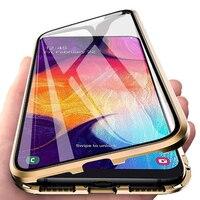Metall Magnetische Fall Für Xiaomi Redmi Hinweis 10 9 9A 9C 9S 9T K40 8 8T 8A 7 Poco M3 X3 NFC 10T Pro Doppelseitige Gehärtetem Glas Fall