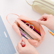 New creative large-capacity handle pencil case simple multifunctional double stationery