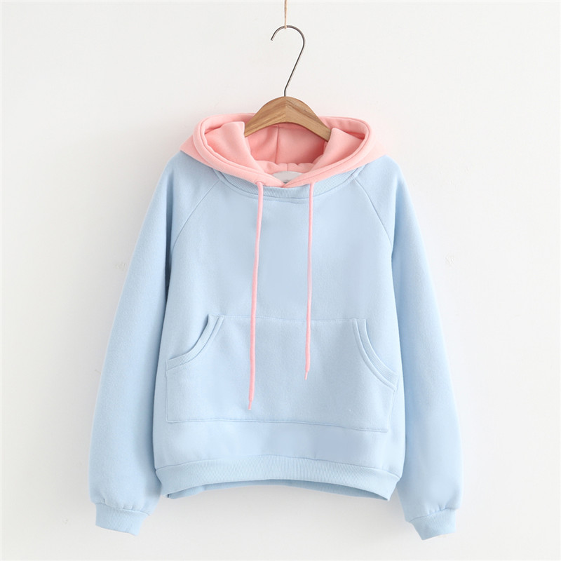 2019 Fashion Women Hoodies Autumn Winter Long Sleeve Solid Color Korean Version Strappy Girls Pullover Tops Sweatshirts.