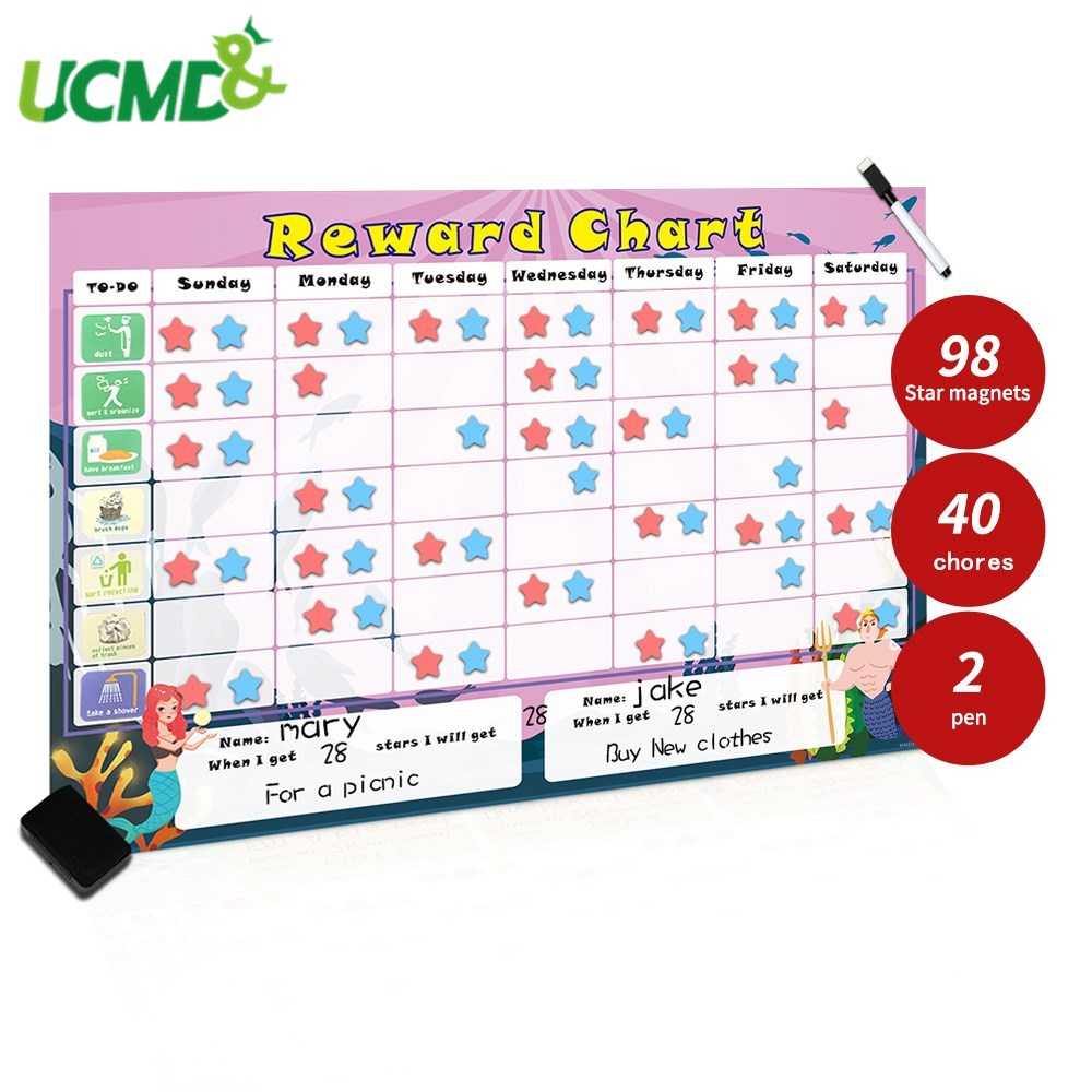Magnetic Two Kids Responsibility Reward Chart Kids Chore Chart Behavior Record Board Toy Educational Learning Schedule Calendar