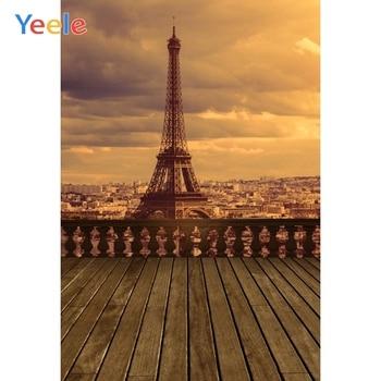 Paris Eiffel Tower Landscape Background Wood Backdrop Photocall Photography Customized Photographic Background For Photo Studio allenjoy photography background christmas tree gifts sofa wood floor backdrop photocall customize vinyl photographic