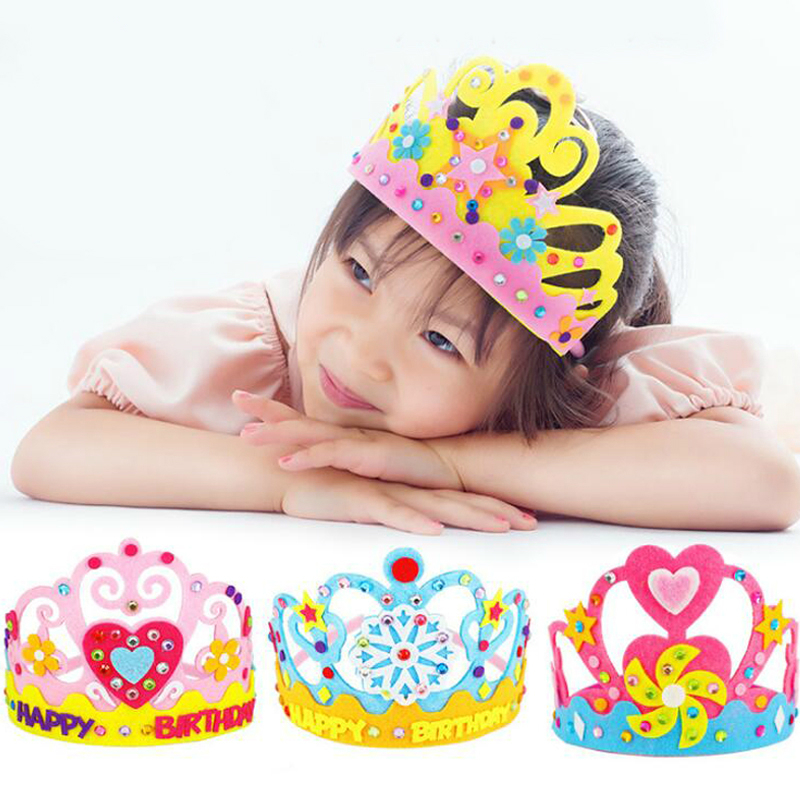 DIY Creative Girls Craft Toys Sequins Crown Flower Star Pattern Kindergarten Art Paper Toys For Children Party Decoration Gifts