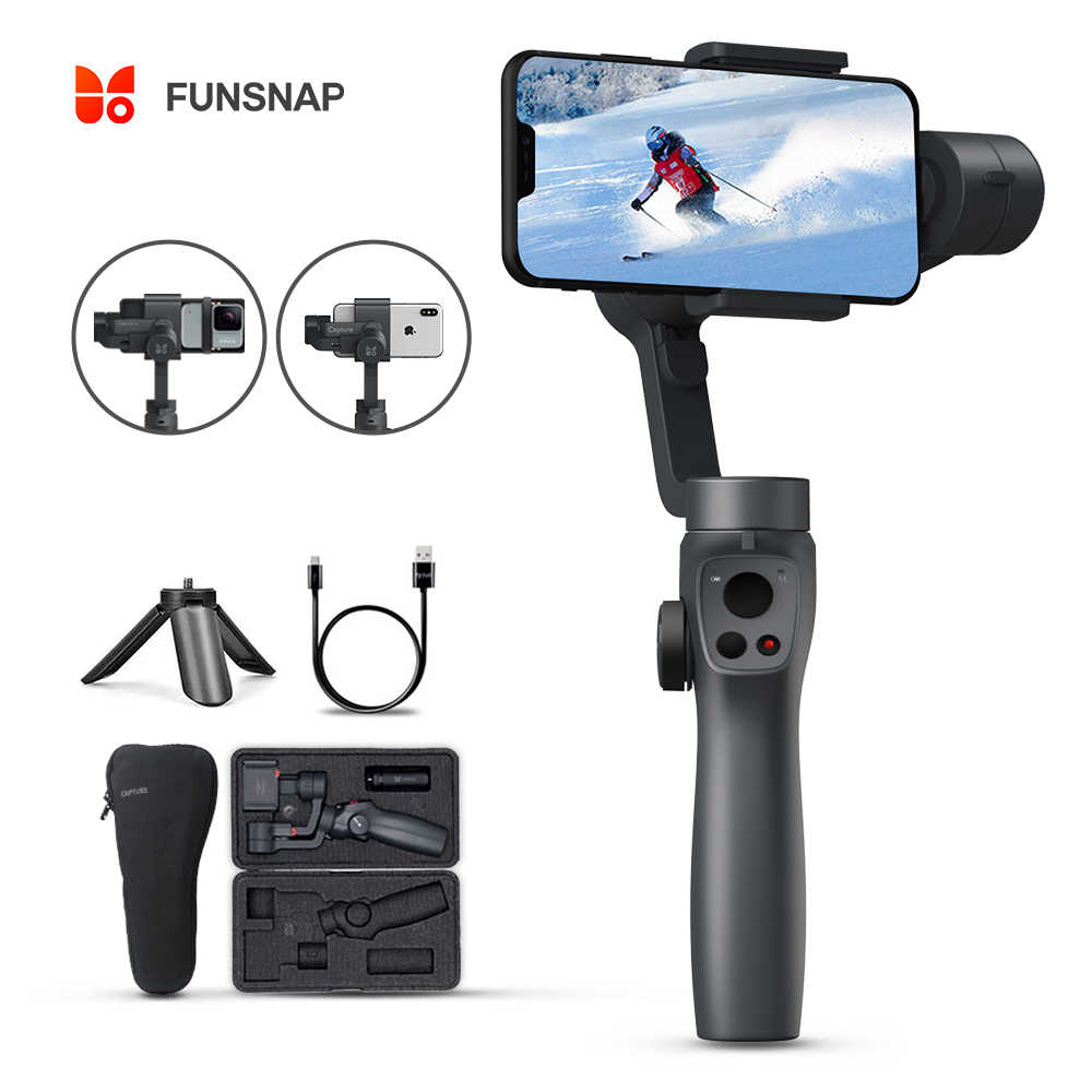 Funsnap Capture2 3 osi ręczny stabilizator Gimbal dla Smartphone Samsung Iphone X XR 8 7 Gopro kamera akcja EKEN 1 Gimbal zestaw