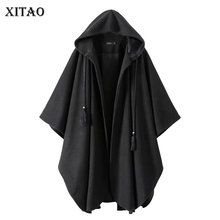 XITAO Pleated Plus Size Blends Women Fashion New Hoodies Collar Drawstring Elegant Small Fresh Black Minority Blends WLD3077 cheap COTTON Polyester Long Cloak Casual Pockets Tassel Solid Open Stitch Batwing Sleeve Hooded Full