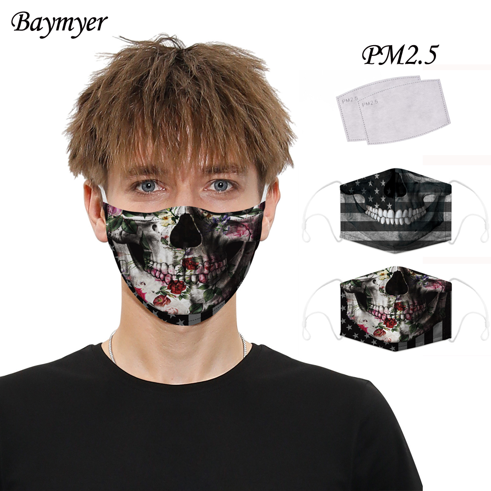 Breathable Mouth Masks Camo Skull National Flag Printed Face Mask Reusable With Activated Carbon PM2.5 Filter Mask Mascarillas