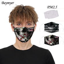 Breathable ปากหน้ากาก Camo Skull National FLAG พิมพ์หน้ากาก Reusable Activated Carbon PM2.5 หน้ากากกรอง Mascarillas(China)