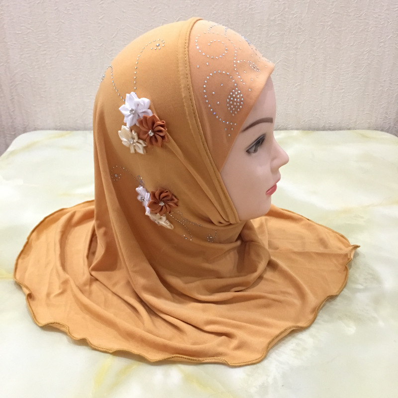 Muslim Kids Girls Hijab Islamic Headscarf Flower Scarf One Piece Amira Children Ramadan Middle East Full Cover Head Wraps