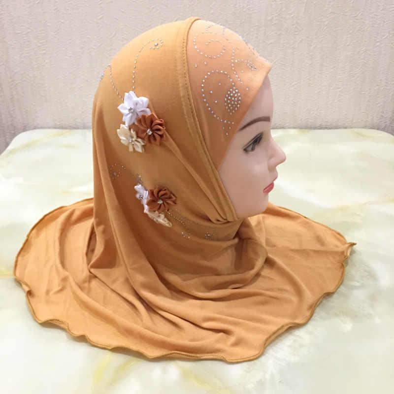 Small Girls Hijab Muslim Islamic Head Scarf Al Amira Wrap Kid Child One Piece