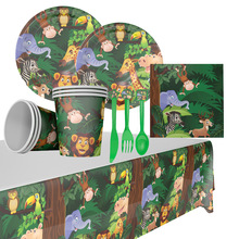 Jungle Animal Disposable Party Tableware Plate Cup Napkin Safari Party Supplies Baby Shower Kids Birthday Party Decoration