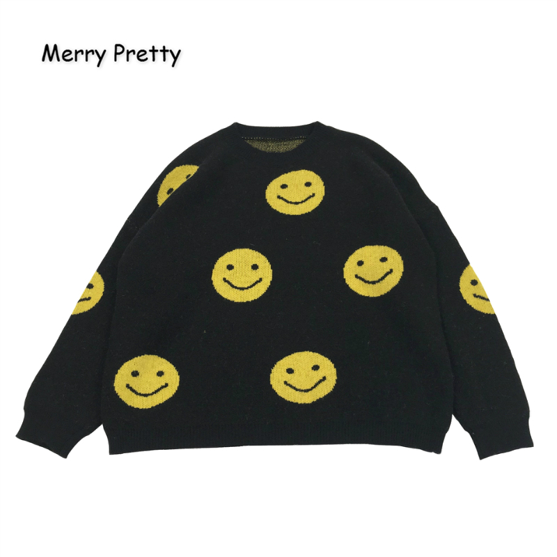 MERRY PRETTY Women's' Cartoon Smiley Face Embroidery Harajuku Knitted Sweaters 2019 Winter Warm Jacquard Sweater Knit Pullovers
