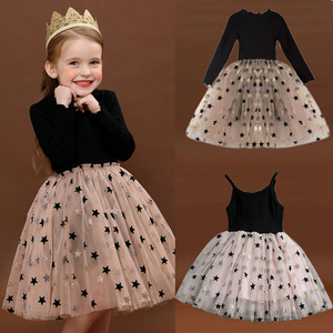 Kids Sleeveless Lace Drsses for Girls Party Dress Star Printed Birthday Tutu Dresses Children Casual Wear 3 6 8 Years Vestidos(China)