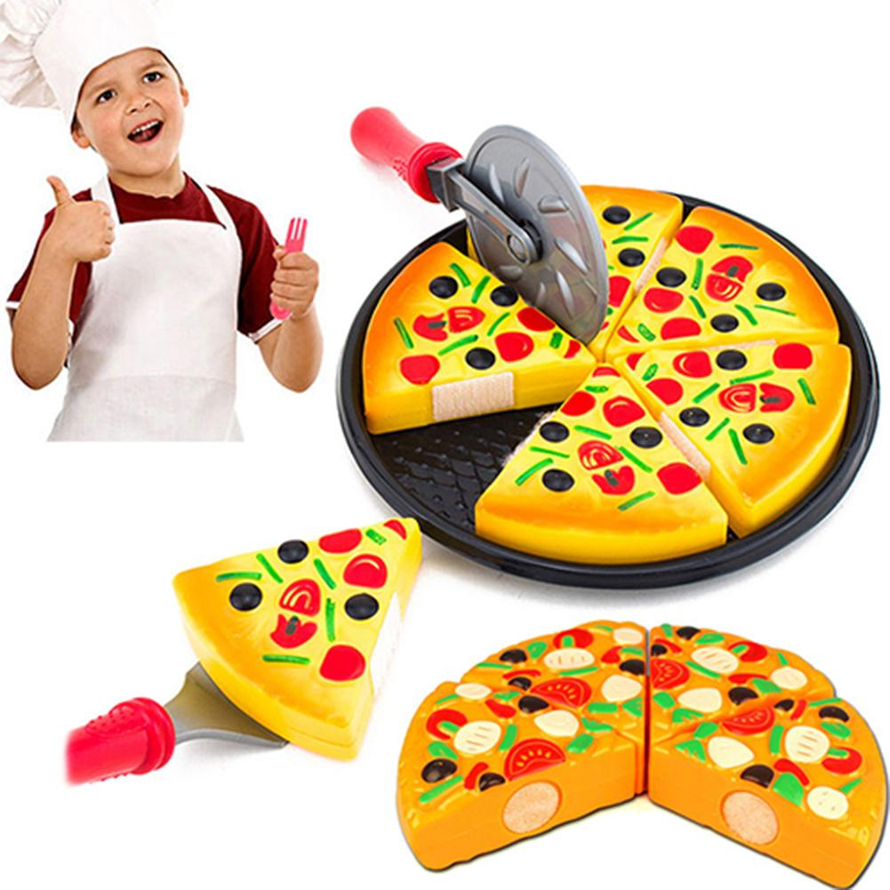 Child Kitchen Simulation Pizza Party Fast Food Slices Cutting Play Food Toy