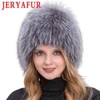 Winter lady fur cap real fox fur hat knitting silver fox fur cap female Russian woman bomer hat