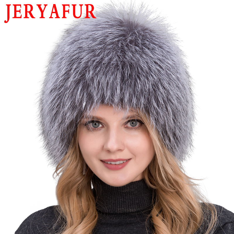 Winter Lady Fur Cap Real Fox Fur Hat Knitting Silver Fox Fur Cap Female Russian Woman Bomer Hat