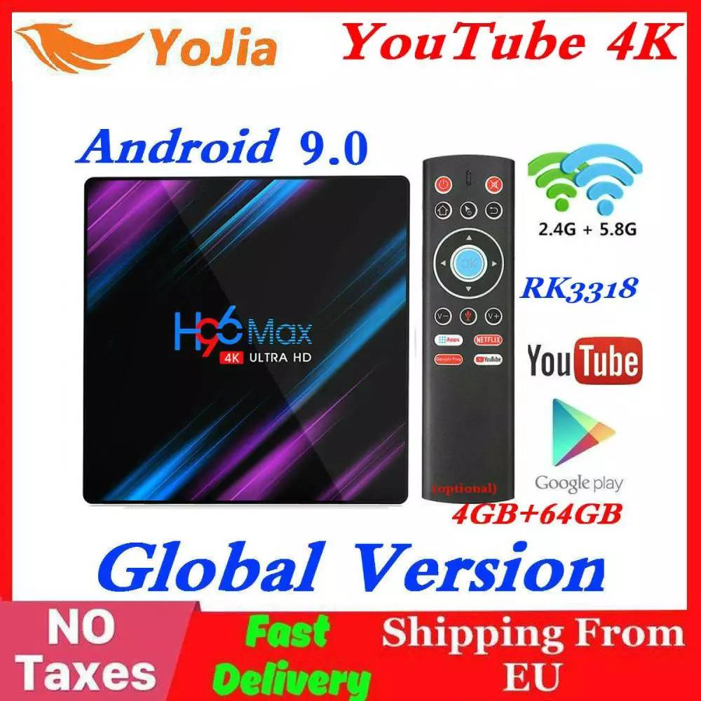 RK3318 H96 MAX Smart TV Box Android 9.0 4GB RAM 64GB ROM 32G 4K WiFi Media Player Google Voice Netflix Youtube 2G16G Set Top BOX