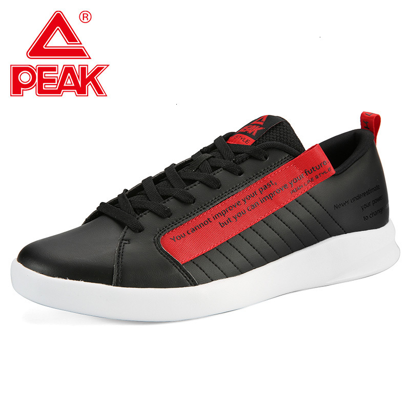 PEAK Men Skateboarding Shoes Leather Upper Letter Printing Life Style Sneakers Lightweight Classic Culture Casual Walking Shoes