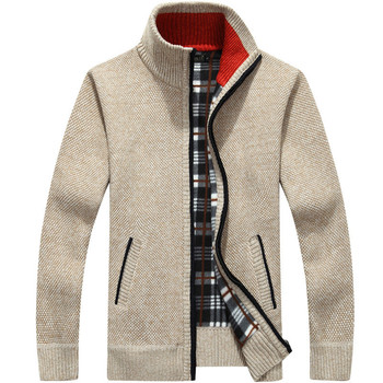 Winter Thick Men's Knitted Sweater Coat Off White Long Sleeve Cardigan Fleece Full Zip Male Causal Plus Size Clothing for Autumn
