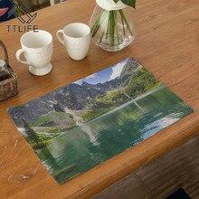 TTLIFE Landscape Table Placemats Cotton-linen Non-slip Mats Kitchen Accessories Mat Solid Placemat for Tableware Decor Home Pats
