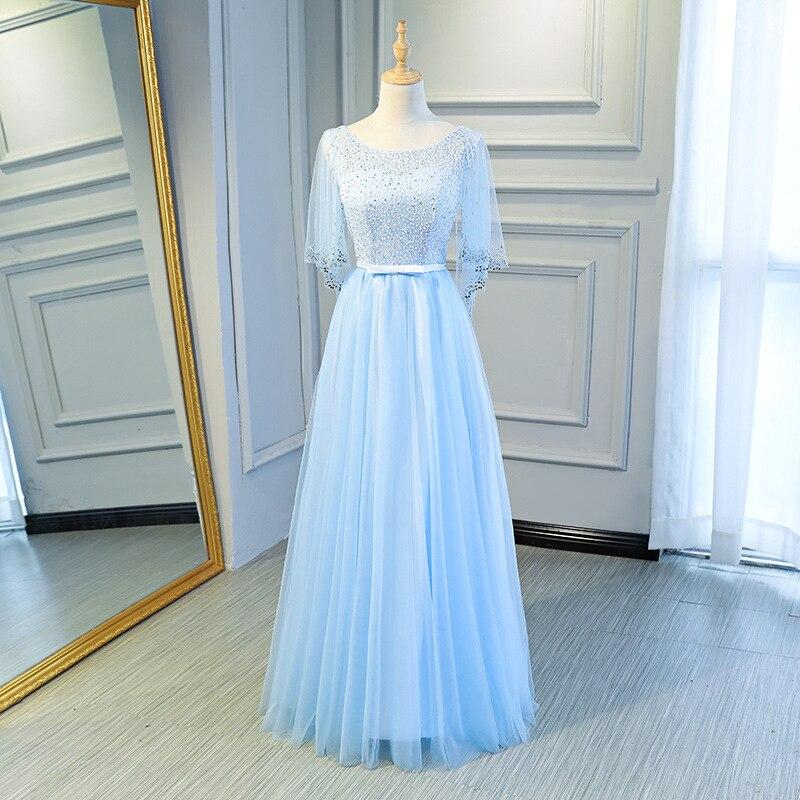 Late Formal Dress 2019 New Style Performance Chorus Formal Dress Blue Bridesmaid Dress Sisters Skirt Formal Dress Women's Long S