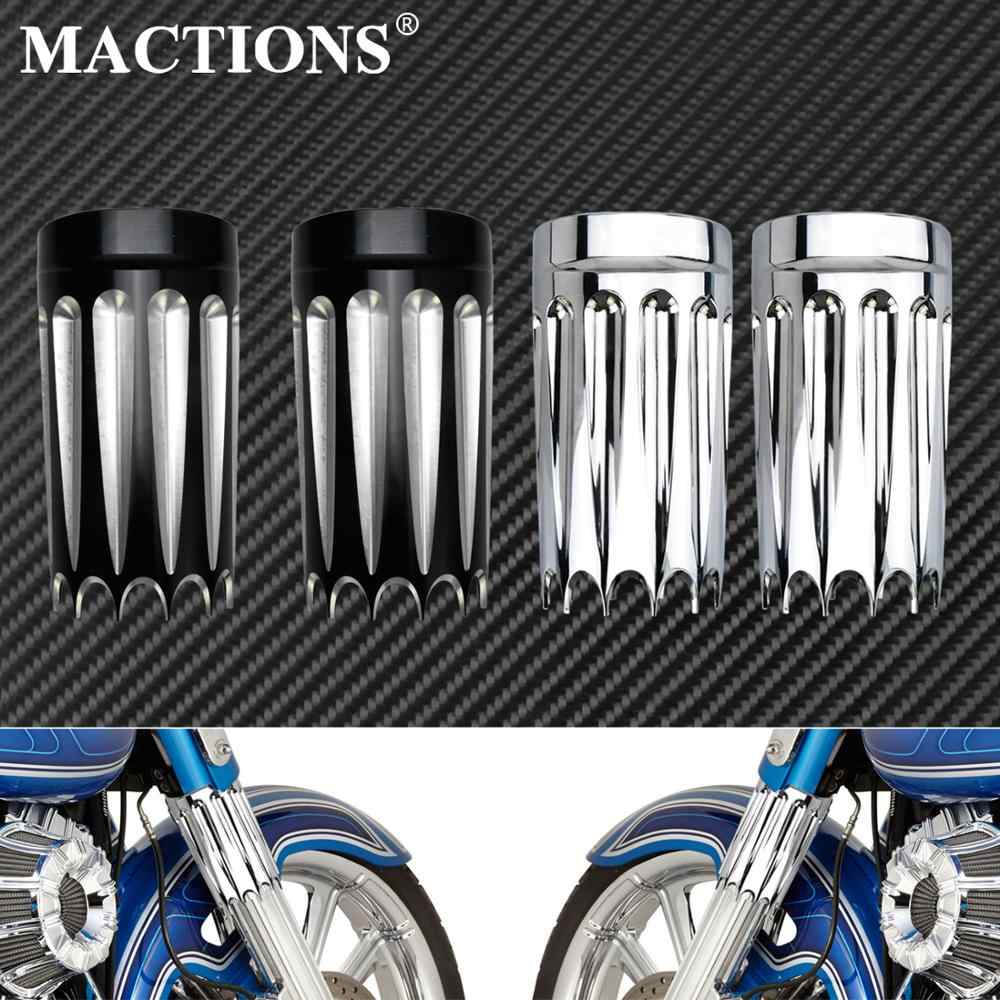 Mactions Forcella Anteriore di Avvio Slider Cover Nero/Chrome per Harley Touring Road King Electra Street Glide Flht Flhx Trike 08-13 14-17